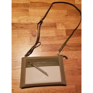Nanette Lepore olive, taupe, and cream crossbody